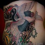 Зачетный вариант нанесенной татуировки журавль – рисунок подойдет для тату журавль на ноге