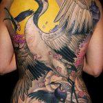 Зачетный пример существующей тату журавль – рисунок подойдет для тату аист или журавль