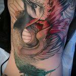Классный пример существующей татуировки журавль – рисунок подойдет для тату журавль япония