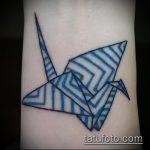 Зачетный вариант выполненной татуировки журавль – рисунок подойдет для тату журавль оригами