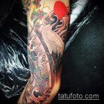 Зачетный вариант существующей тату журавль – рисунок подойдет для тату аист или журавль