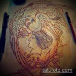 Интересный вариант выполненной татуировки журавль – рисунок подойдет для тату журавль оригами