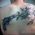 Зачетный пример готовой татуировки журавль – рисунок подойдет для тату журавль и сакура