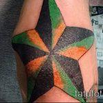 Крутой вариант готовой наколки звезды на локтях – рисунок подойдет для тату звезды на локтях для пресса