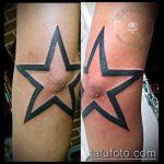 Уникальный пример готовой татуировки звезды на локтях – рисунок подойдет для тату звезды на локтях мужской