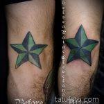 Прикольный пример выполненной тату звезды на локтях – рисунок подойдет для тату звезды на локтях йога