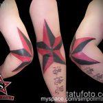Оригинальный вариант нанесенной татуировки звезды на локтях – рисунок подойдет для тату звезды на локтях trx