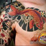 Интересный вариант готовой татуировки золотая рыбка – рисунок подойдет для тату золотая рыбка на запястье