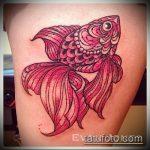 Классный пример готовой татуировки золотая рыбка – рисунок подойдет для тату золотая рыбка и лотос