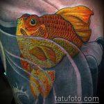 Крутой вариант существующей тату золотая рыбка – рисунок подойдет для тату золотая рыбка для девушки