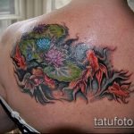 Прикольный пример готовой тату золотая рыбка – рисунок подойдет для тату золотая рыбка на спине