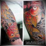Крутой вариант готовой татуировки золотая рыбка – рисунок подойдет для тату золотая рыбка для девушки