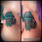 Крутой пример нанесенной татуировки золотая рыбка – рисунок подойдет для тату золотая рыбка на крючке