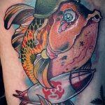 Классный вариант готовой тату золотая рыбка – рисунок подойдет для тату золотая рыбка и лотос