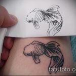 Зачетный вариант готовой тату золотая рыбка – рисунок подойдет для тату золотая рыбка и лотос