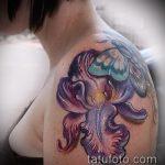 Прикольный пример готовой наколки ирис – рисунок подойдет для тату ирис на руке