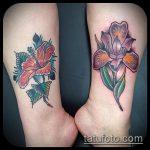Уникальный вариант нанесенной наколки ирис – рисунок подойдет для тату цветка ирис