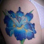 Прикольный пример выполненной наколки ирис – рисунок подойдет для тату ирисы на спине
