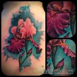 Уникальный пример готовой татуировки ирис – рисунок подойдет для тату ирис на руке