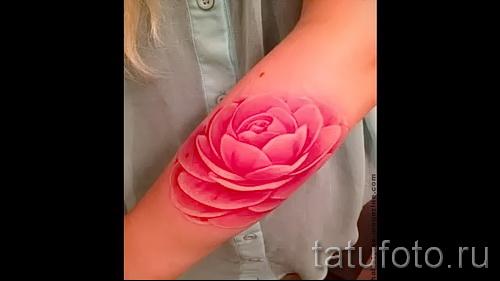 Необычный вариант наколки камелия на фото для публикации про историю рисунка цветка камелии в татуировке
