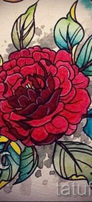 Прикольный вариант наколки камелия на фото для материала про историю рисунка цветка камелии в татуировке