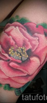 Достойный вариант наколки камелия на фото для публикации про историю рисунка цветка камелии в татуировке