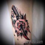 Прикольный пример нанесенной тату кинжал и роза – рисунок подойдет для тату кинжал и роза и череп
