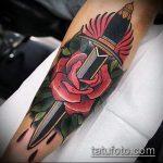 Уникальный пример существующей наколки кинжал и роза – рисунок подойдет для тату кинжал и роза и череп