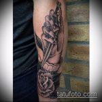 Зачетный пример готовой татуировки кинжал и роза – рисунок подойдет для тату кинжал и роза и череп