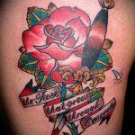 Классный вариант готовой тату кинжал и роза – рисунок подойдет для тату кинжал и роза белая