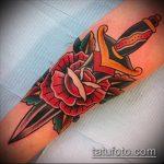 Прикольный пример готовой тату кинжал и роза – рисунок подойдет для тату кинжал и роза алая