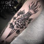 Оригинальный вариант выполненной тату кинжал и роза – рисунок подойдет для тату кинжал и роза и череп