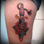 Оригинальный вариант нанесенной татуировки кинжал и роза – рисунок подойдет для тату кинжал и роза и череп