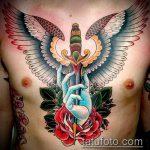 Прикольный пример существующей татуировки кинжал и роза – рисунок подойдет для тату кинжал и роза белая