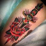 Классный вариант готовой татуировки кинжал и роза – рисунок подойдет для тату кинжал и роза и череп