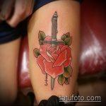 Крутой вариант готовой тату кинжал и роза – рисунок подойдет для тату кинжал и роза и череп