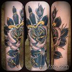 Зачетный пример нанесенной наколки кинжал и роза – рисунок подойдет для тату кинжал и роза алая