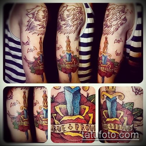 Фото тату кинжал и роза - достойные примеры интересных готовых татуировок