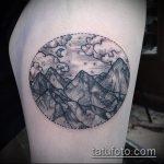 Крутой вариант готовой татуировки круг – рисунок подойдет для тату пейзаж круге