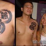 Оригинальный пример готовой наколки круг – рисунок подойдет для тату круг перьями