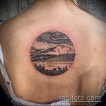 Зачетный пример существующей тату круг – рисунок подойдет для тату пейзаж круге