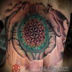 Интересный вариант существующей наколки круг – рисунок подойдет для тату круг на груди
