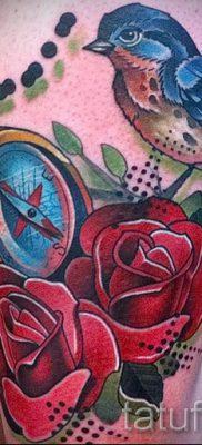 Эксклюзивный вариант идеи тату снегирь в готовой татухе на фото – для статьи про историю тату снегирь