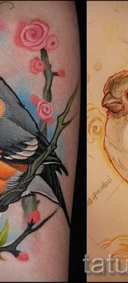 Интересный вариант идеи тату снегирь в готовой татуировке на фото – для статьи про смысл тату снегирь