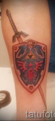 Рисунок интересной наколки щит и меч для заметки про толкование тату щит с мечем