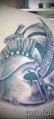 Вариант удачной тату щит и меч для публикации про значение тату щит с мечем
