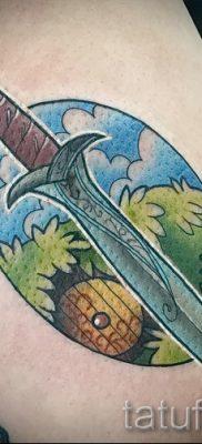 Фото крутой татуировки щит и меч для материала про историю тату щит с мечем