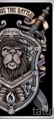 Фото классной татуировки щит и меч для статьи про толкование тату щит с мечем