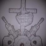 Крутой пример эскиза наколки армейская – рисунок подойдет для армейские татуировки по родам войск фото