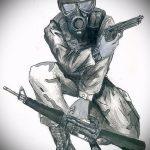 Классный пример эскиза наколки армейская – рисунок подойдет для армейские татуировки рвсн